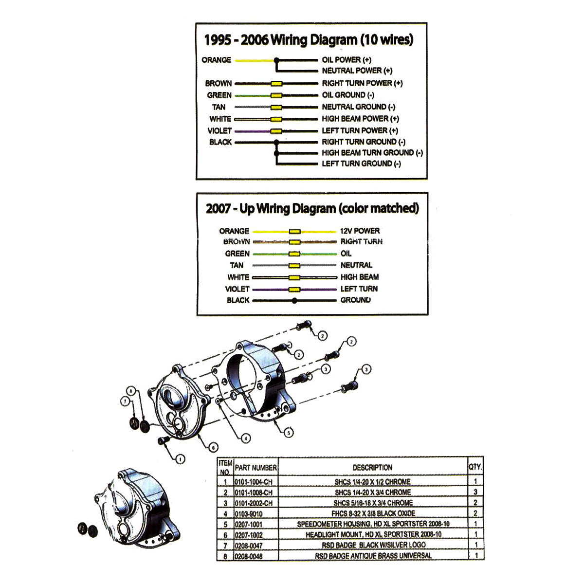Motorcycle Headlight Gauges Relocator Silver Ops For Harley Wiring Diagram 2007 Sportster 883 Iron