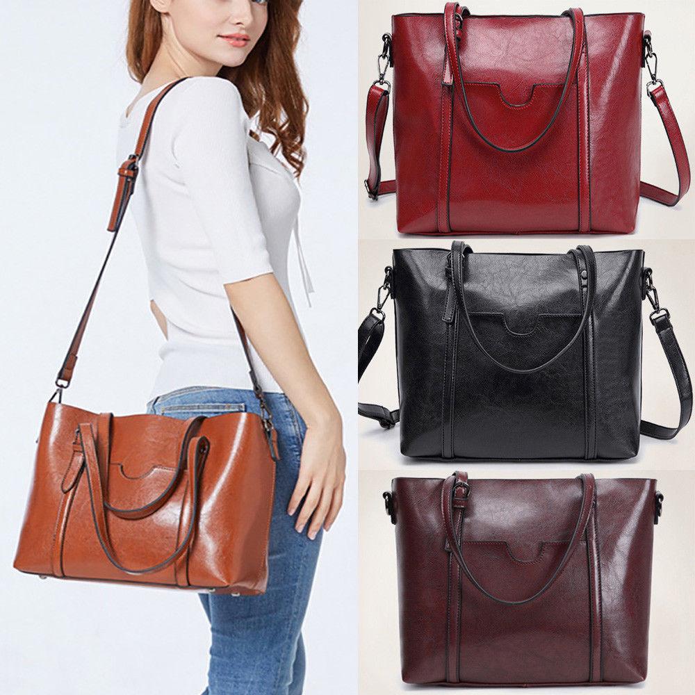 Women Leather Handbag Tote Purse Large Messenger CrossBody Shoulder Bag