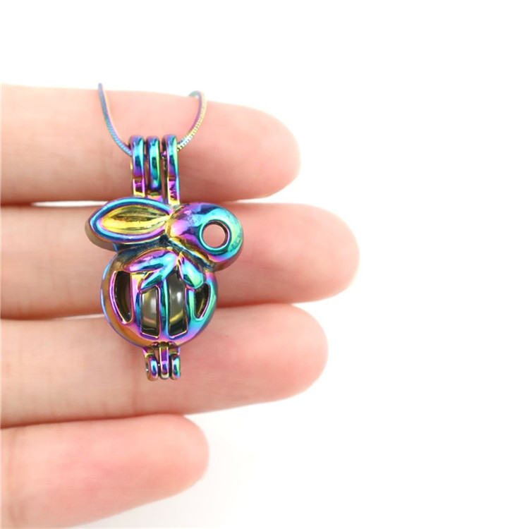 K32 Silver Princess Crown Locket Necklace Pearl Beads Cage Steel Chain