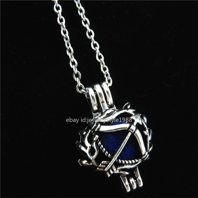 necklace pendant watch STV46 Antique Pearl Bead Cage Summer Pineapple Locket Necklace Stainless Chain