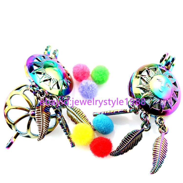 5X-C798 Rainbow Color Catroon Sun Dream Catcher Pearl Cage Locket