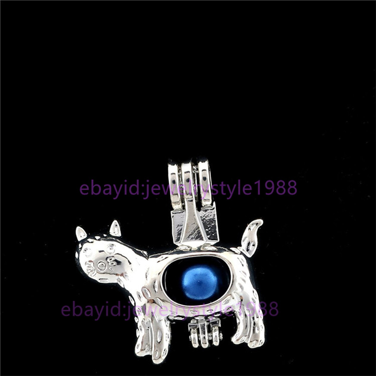 K911 Silver Cute Cat Beads Cage Oil Diffuser Pearl Locket Necklace Pendant