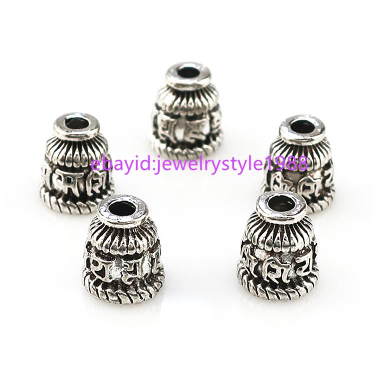 22350 20pcs Alloy Antique Silver Jewelry Findings Flower Flower Tassel Cap Ends