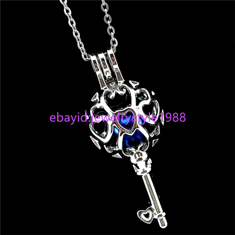 """K884 Sliver Color Glass Trophy Pearl Beads Cage Stainless Steel 18/"""" Chain"""