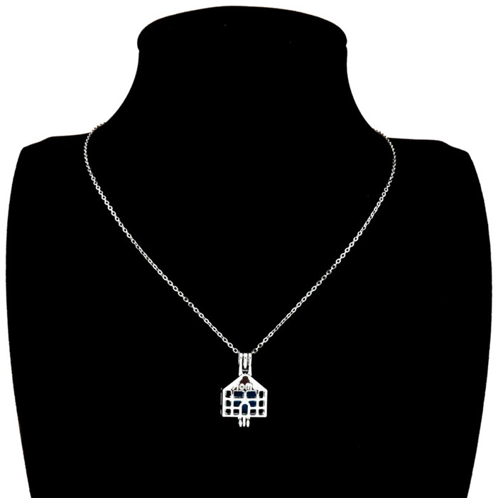 """K538 Silver Alloy 26mm Home Family House Beads Cage Open Pendant Necklace 18/"""""""