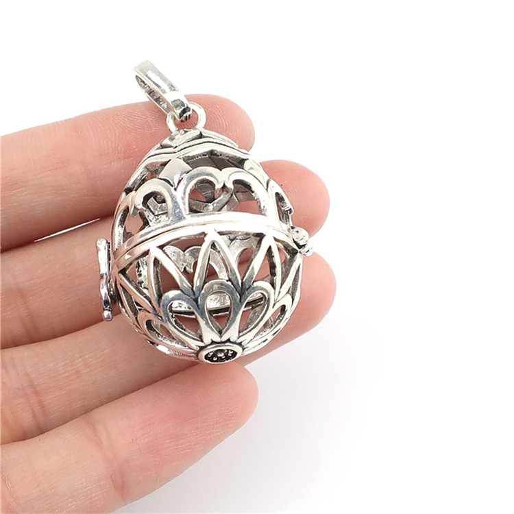 B138 Antique Silver Egg Owl Round Ball Aroma Floating Beads Cage Locket