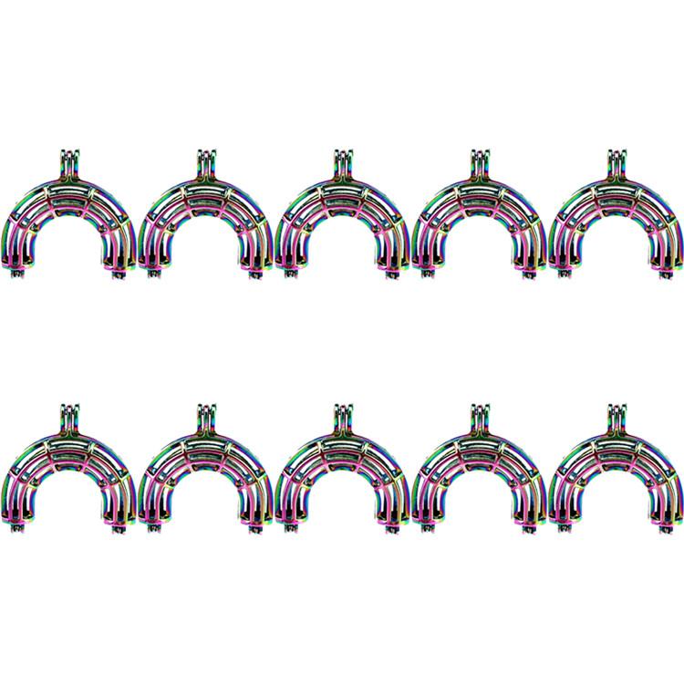 Beads Cage Charm Bottel Charm Rainbow Color Locket Diffuser Pendant 5X-C944