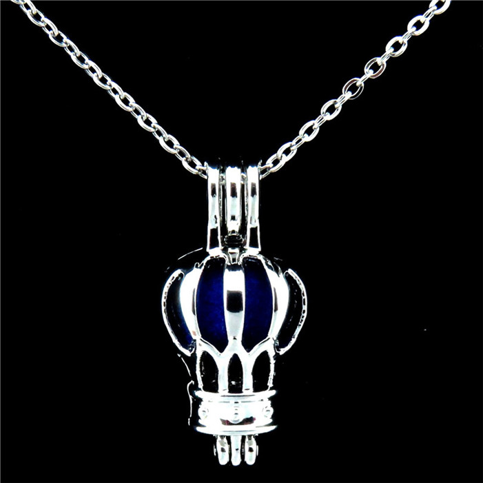 """Black Hot Air Balloon Beads Cage 18/"""" Chain Necklace H64"""