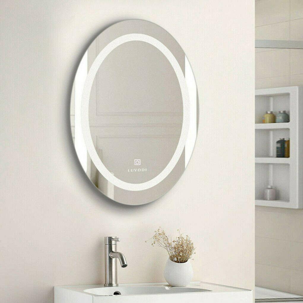 Luvodi Modern Led Illuminated Bathroom Mirror Oval 800x600 Mm 700x500 Mm Light Ebay