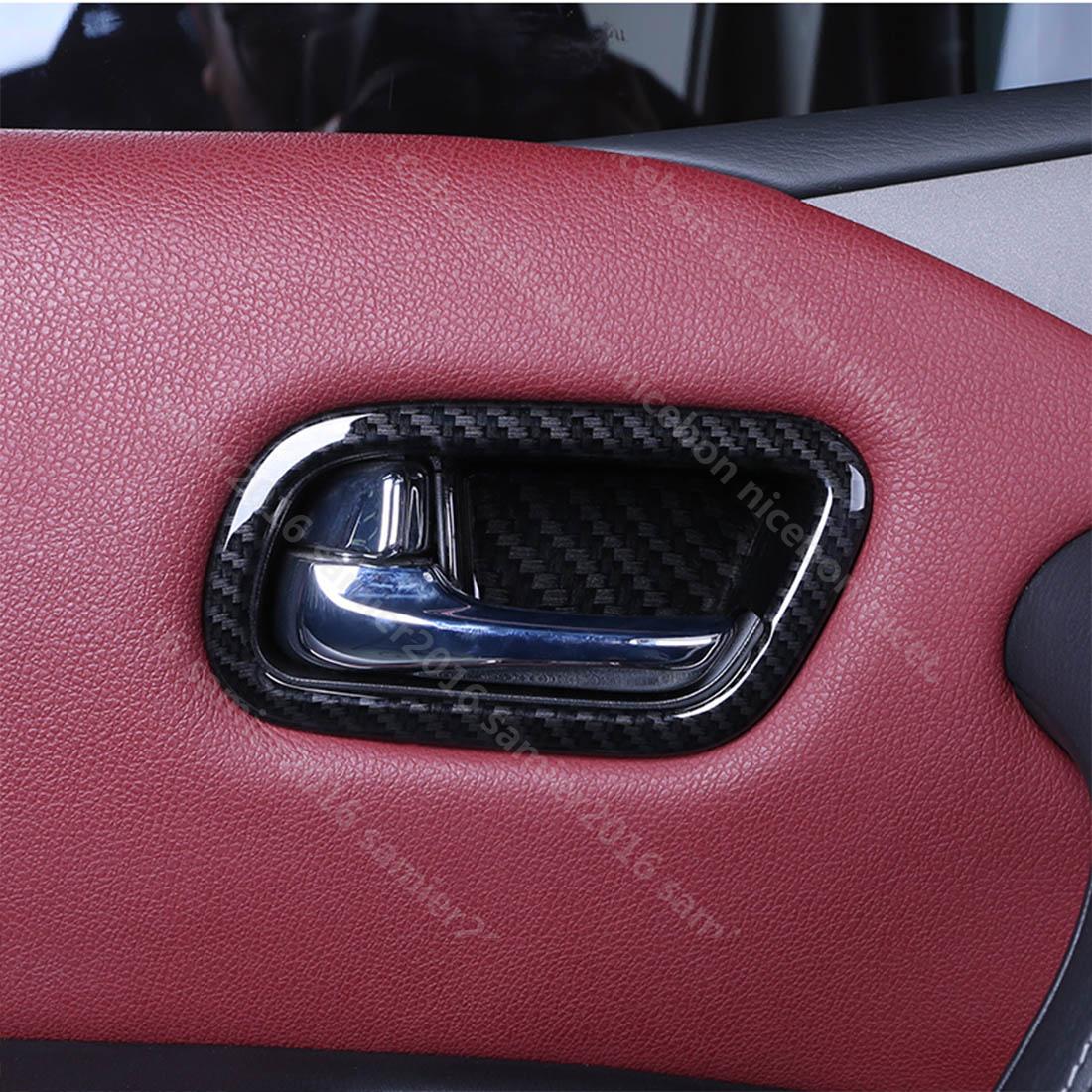 Carbon Fiber Chrome Interior handle bowl cover trim For Nissan Patrol Y62 2017+