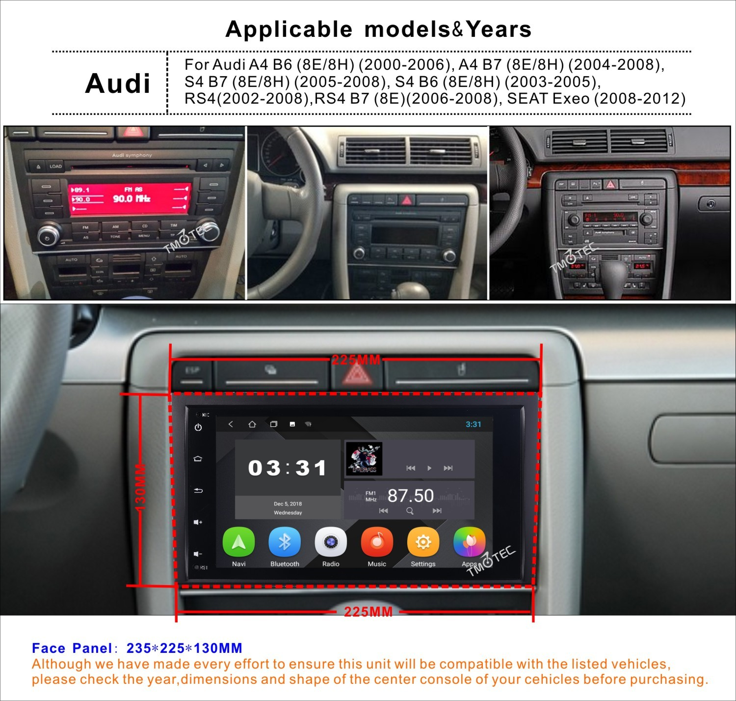 android 8 1 car stereo audi a4 s4 rs4 b9 b7 seat exeo gps. Black Bedroom Furniture Sets. Home Design Ideas