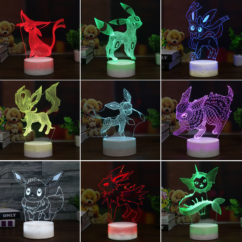 3D Pokemon Elf Umbreon Espeon Lamp Acrylic LED Night Light Table Lamp Kids Gifts