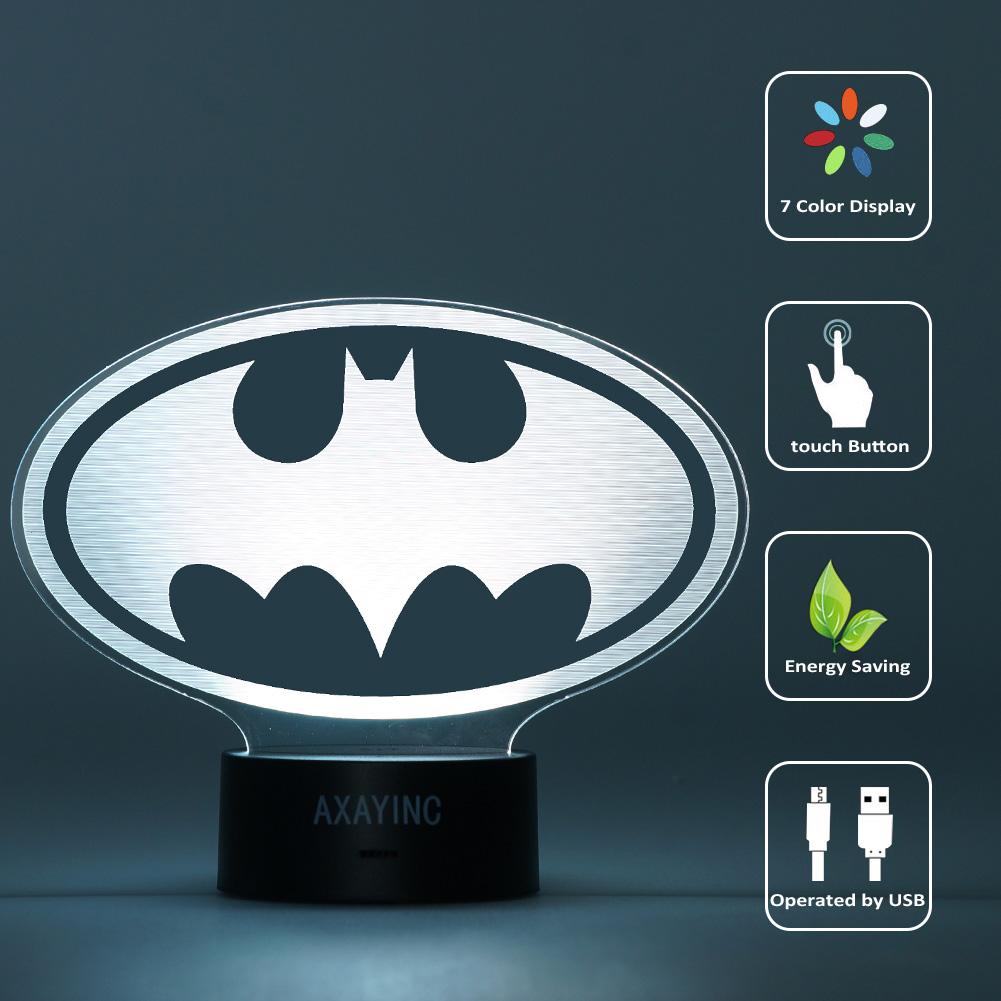 Superheld Batman 3D LED Tischlampe Nachtlicht Nachttischlampe Leselampe Geschenk