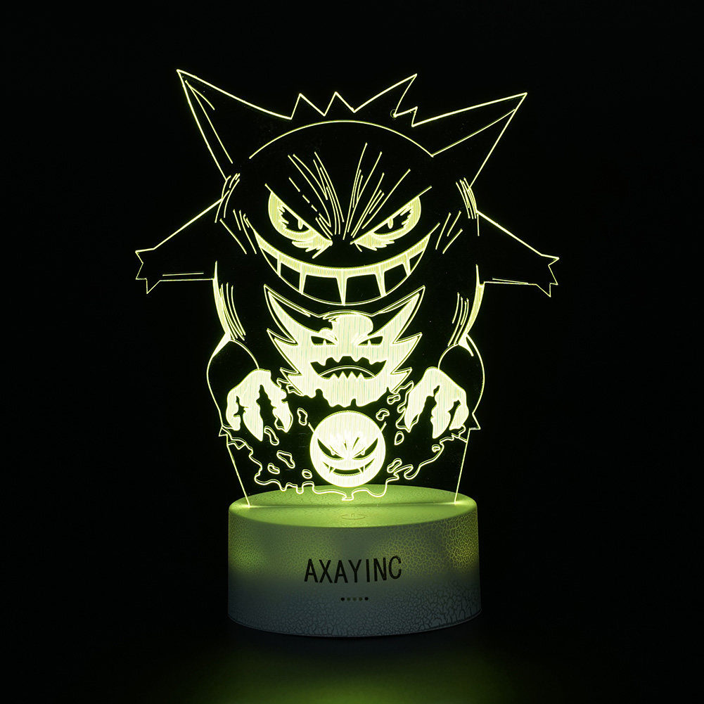 Pokemon Gengar Decor Night Light 3D LED Touch Table Lamp Bedroom Gift 7 Color US