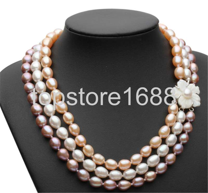 Pretty 2 row Genuine Natural 7-8mm Blue Akoya Freshwater Pearl Necklace 18-19/'/'