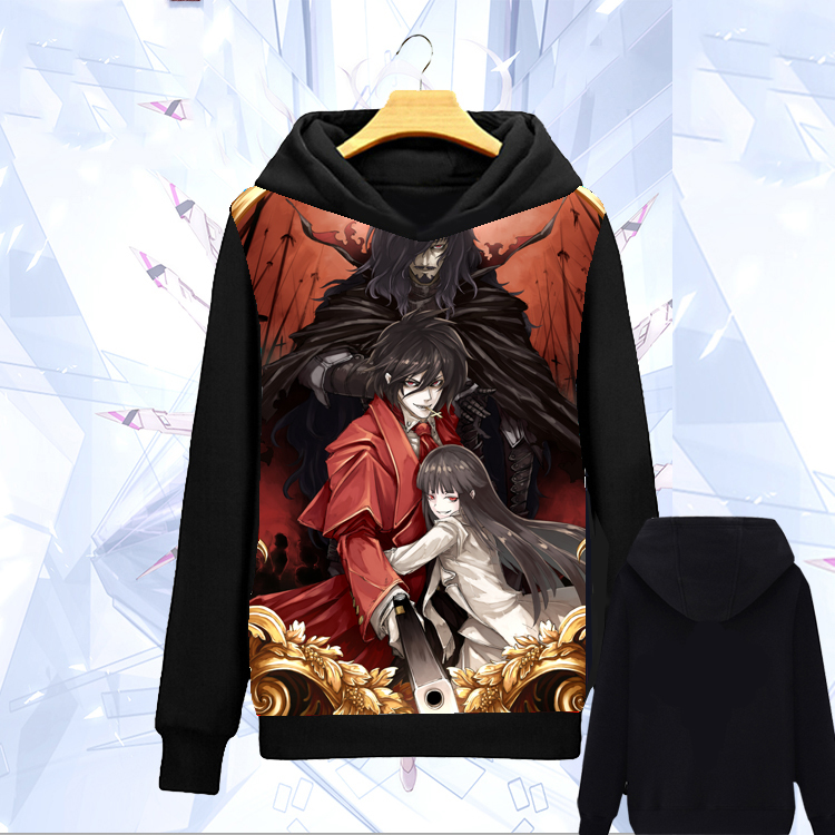 Anime Hellsing Hoodie Cos Pullover Sweatshirt Warmth Black Jacket Coat #DF493