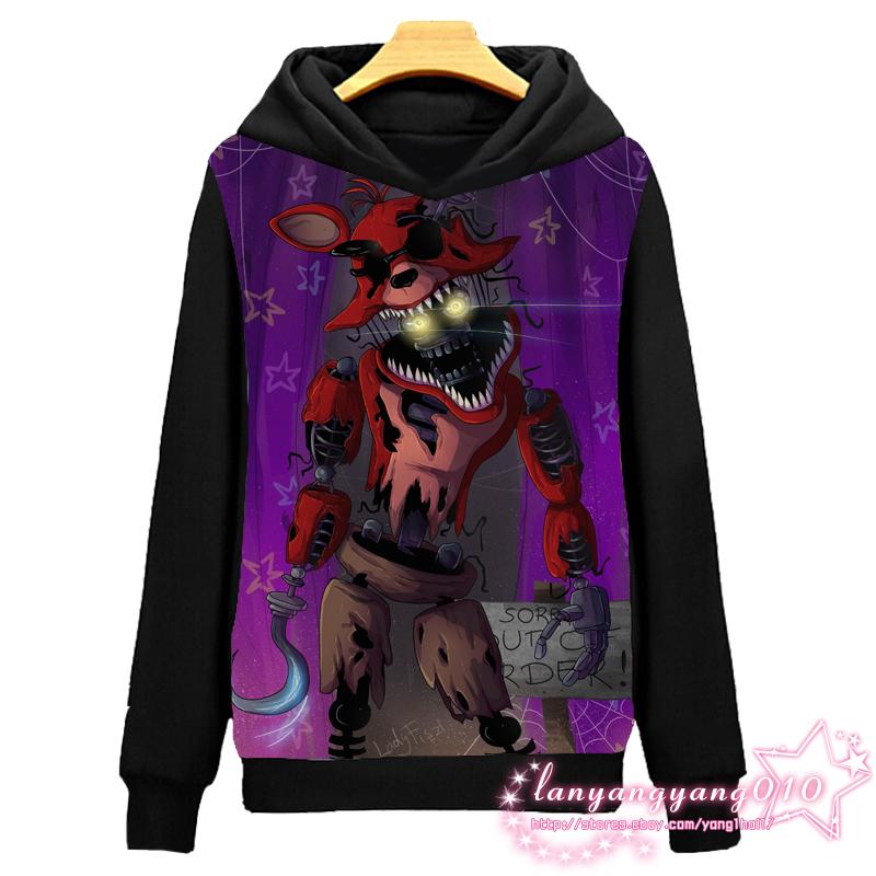 Game Five Nights at Freddy/'s Pullover Casual Black Sweatshirt Hoodie Coat #F07