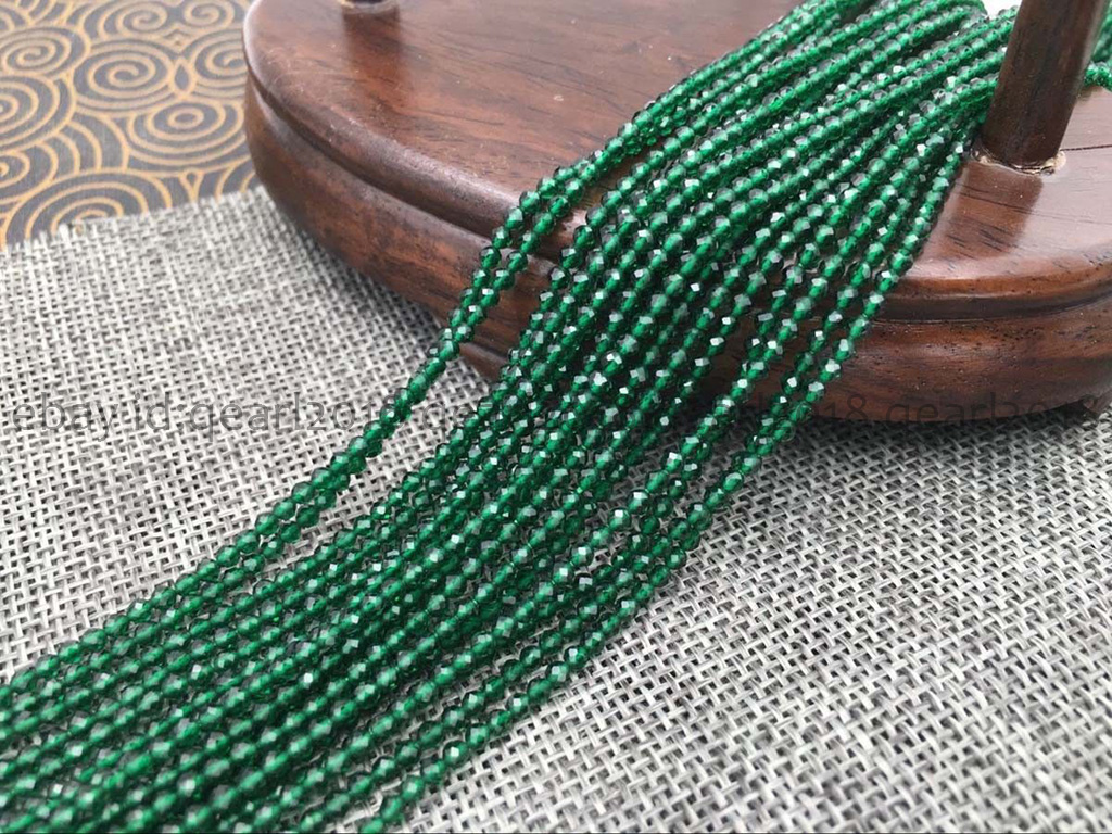 """Green 2mm Faceted GREEN Gemstone Roundel Loose Beads 15/"""" Strand AAA+"""
