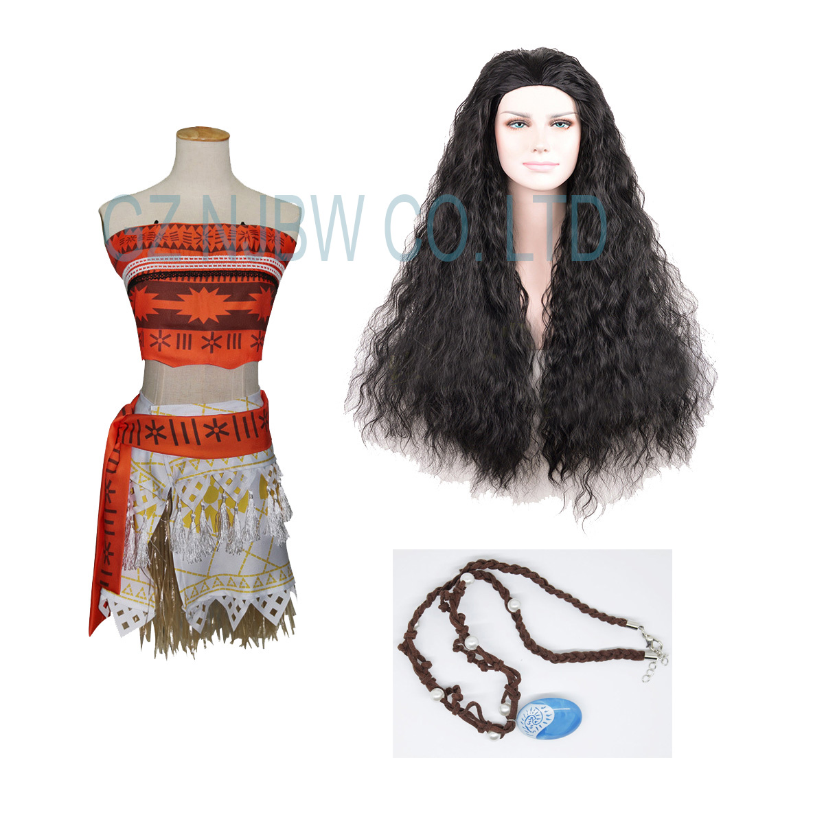 9b8fb5082 Details about Girls Animie Movie Polynesia princess Moana Cosplay Costume  Dress Wig Necklace