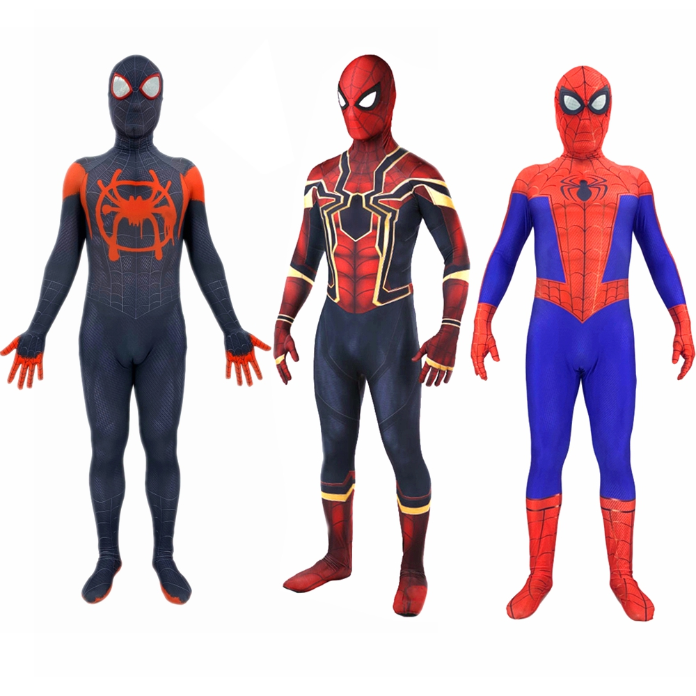 Spider Man Into The Spider Verse Cosplay Costume Kid Adult Iron