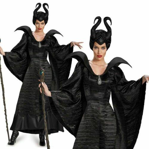 Dettagli Su New Maleficent Costume Deluxe Evil Queen Cosplay Outfit Fancy Dress Halloween Uk