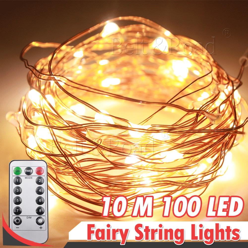 Daymaker Remote Control Warm White 33ft 100led Copper Wire String 100leds Led Strip Lights 12v Dc 10m Outdoor Fairy Light