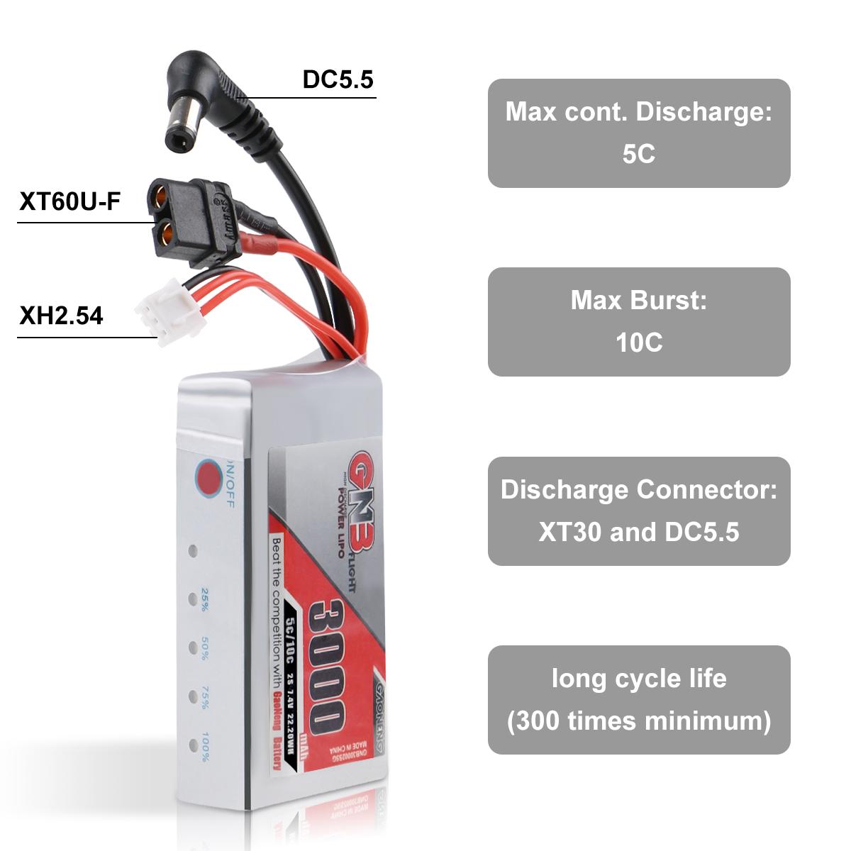 3000mAh 2S LiPo Akku 7.4V 5C//10C mit XT60 Stecker für Fat Shark Brillen HD Hobby