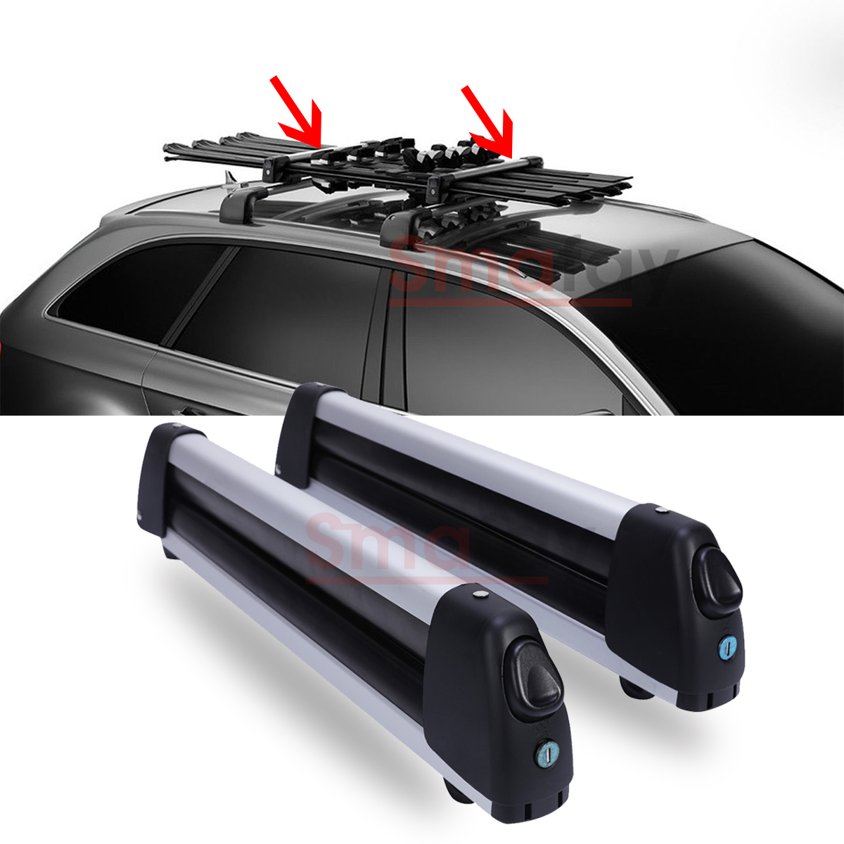 Ski Rack For Car >> Flat Car Top Roof Rack Ski Snowboard Carrier Mount For 4 Snowboard