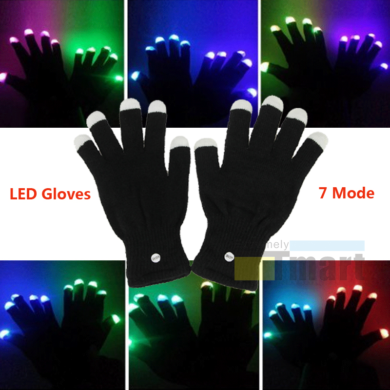1 Pair LED Rave Flashing Gloves 7 Color Light Up Xmas Finger Tip Lighting Gloves
