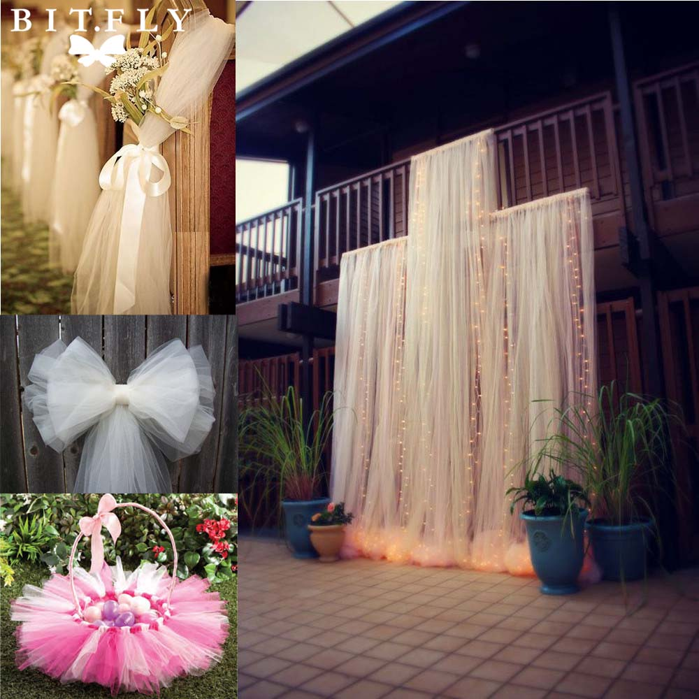 120 ft 54 by 40 Yards Ivory Fabric Tulle Bolt for Wedding and Decoration Craft And Party