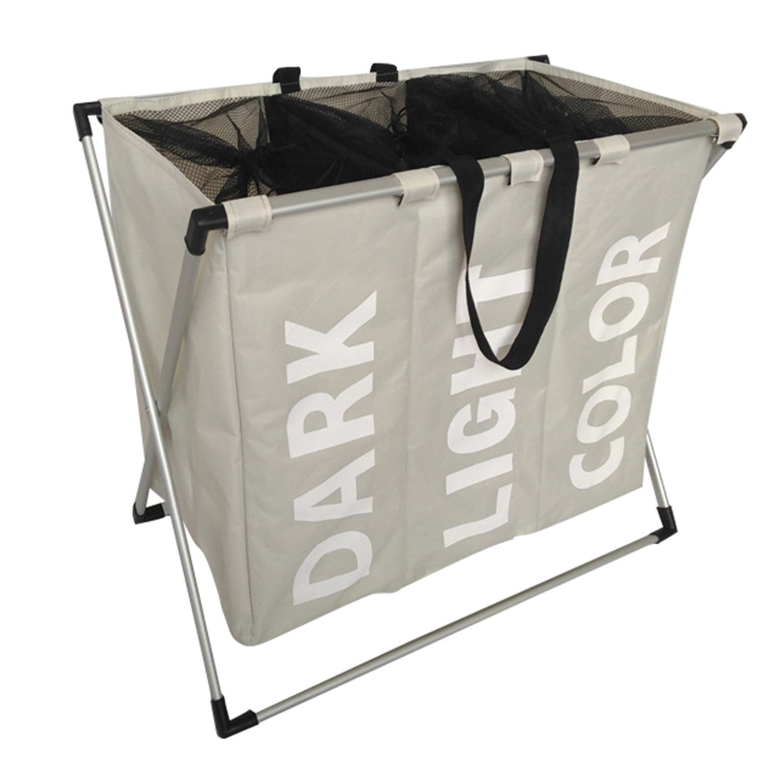 3 Oxford Bag Laundry Sorter Cart Laundry Hamper Basket X-Aluminum ...