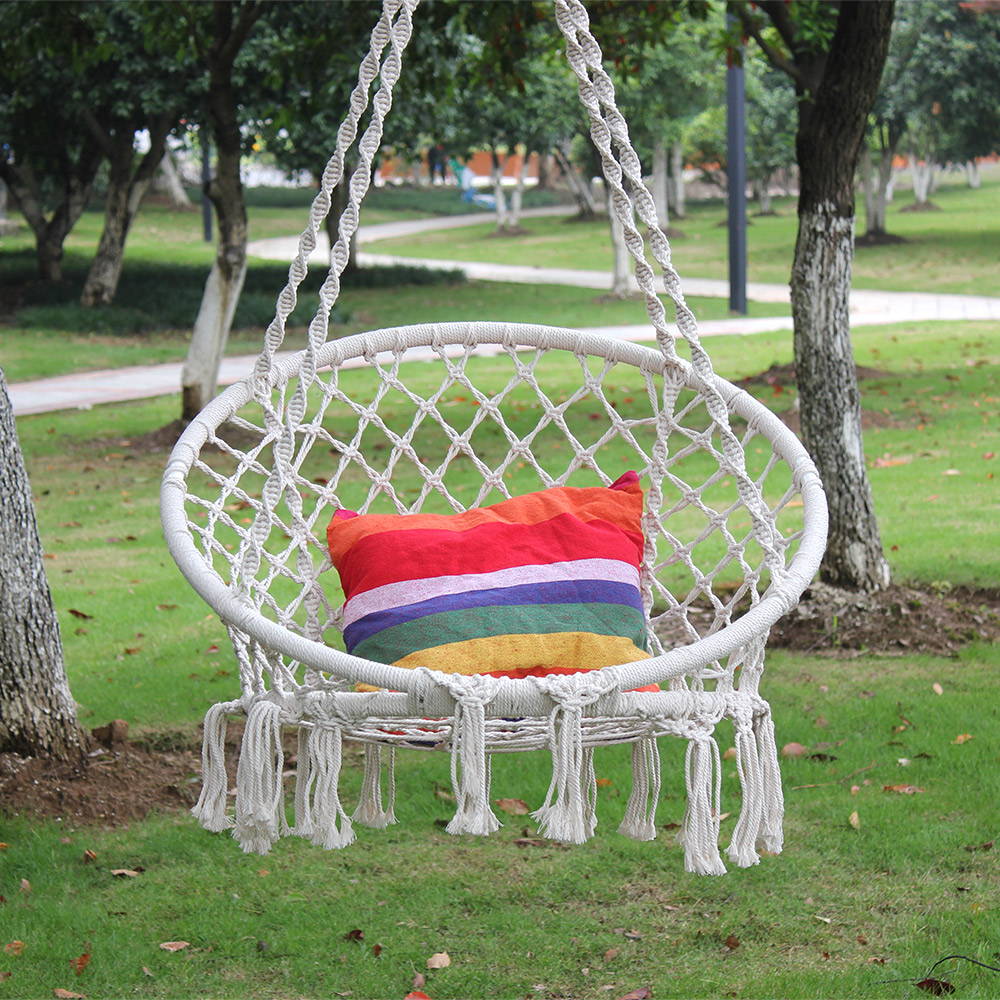 Hammock Chair Macrame Swing Hanging Cotton Rope Macrame ...