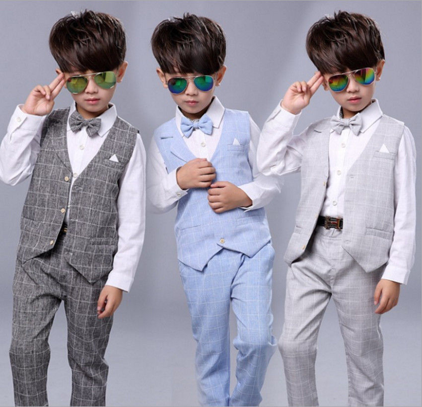 Boys Suits 4Pcs Formal Toddler Baby Kid Waistcoat Suit Wedding ...