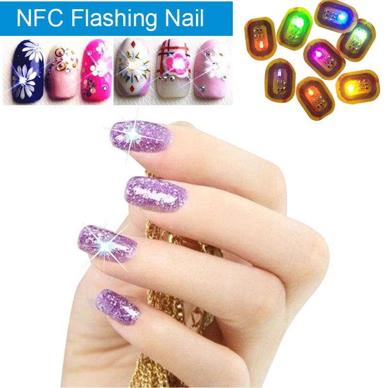 10pcs Women NFC Nail Art Tips DIY Sticker Phone LED Light Flash ...