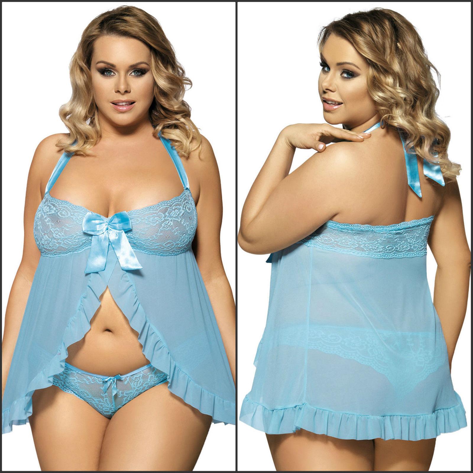 c69285159b0 Sexy Plus Size gray Lingerie Nightwear Underwear Babydoll Sleepwear Lace  Dress