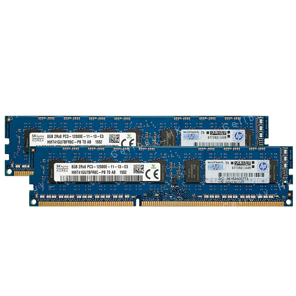 New Hynix 16GB 2x8GB DDR3 2RX8 1600MHz PC3-12800E 240pin ECC Memory Unbuffered