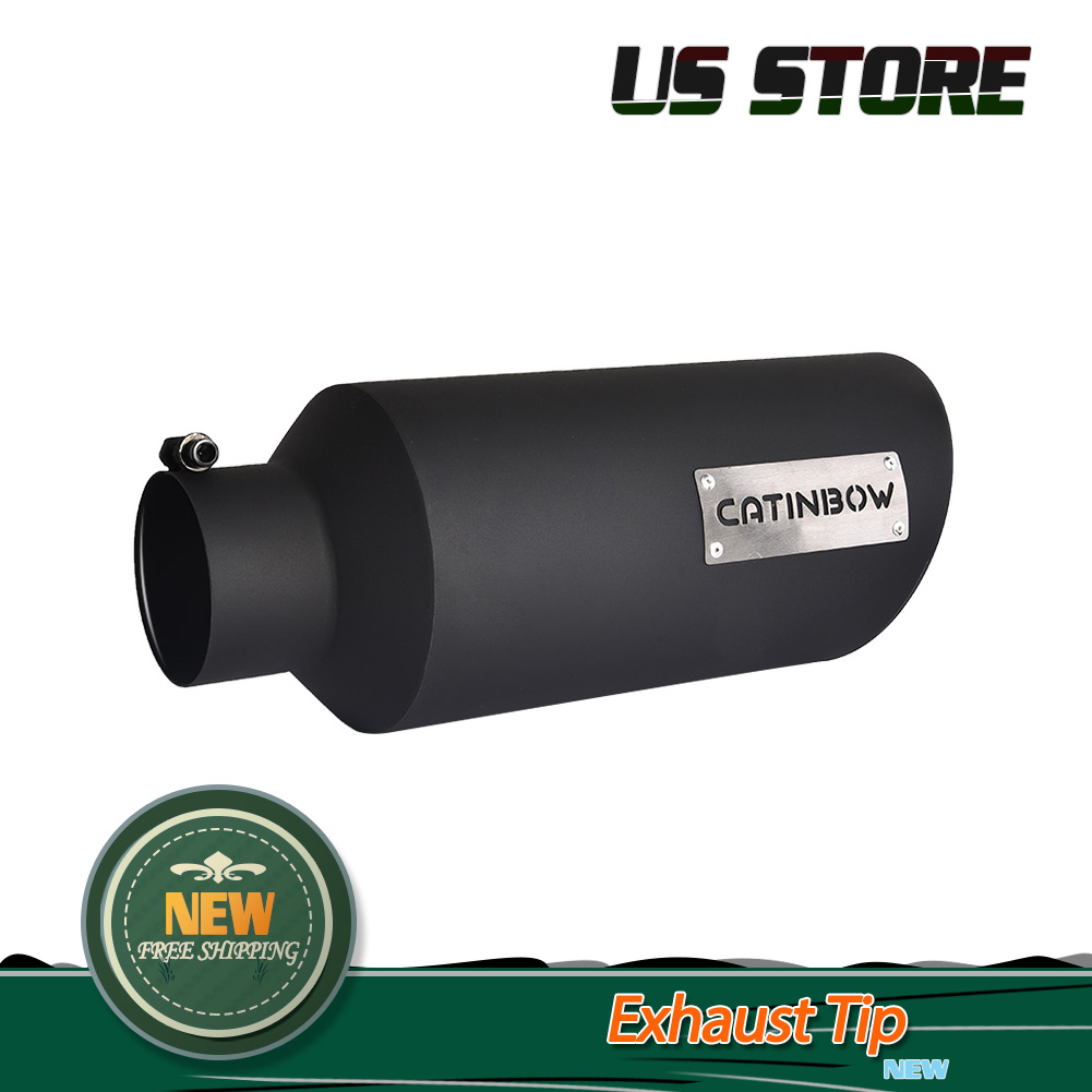"""4/"""" Inlet 18/"""" Long Exhaust Tip Black Powder Coating SS Bolt On 10/"""" Outlet"""