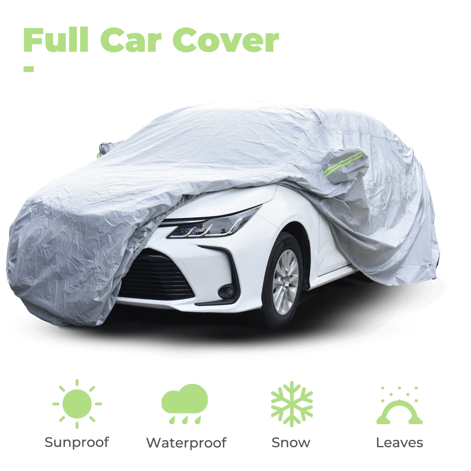 ACUMSTE Universal Car Cover for Sedan,All Weather Waterproof Full Car Covers Outdoor UV Protection Auto Cover Windproof,Dustproof,Waterproof,Scratch Resistant