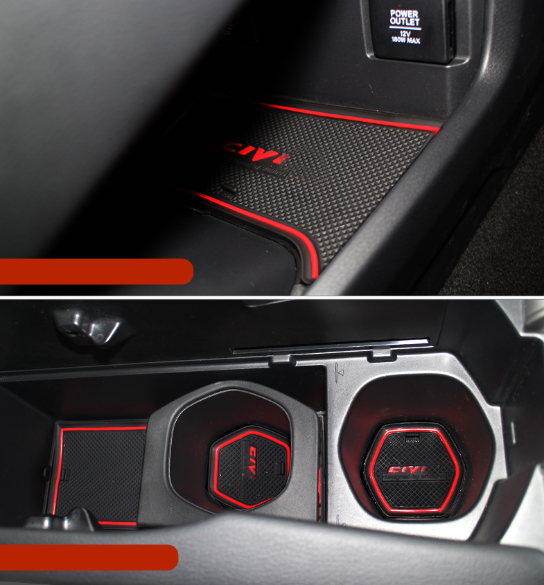 Honda Civic 2016 2019 Factory Speaker Upgrade Package: 17X Car Interior Non-slip Door Slot Mat Pad Cup Holder For