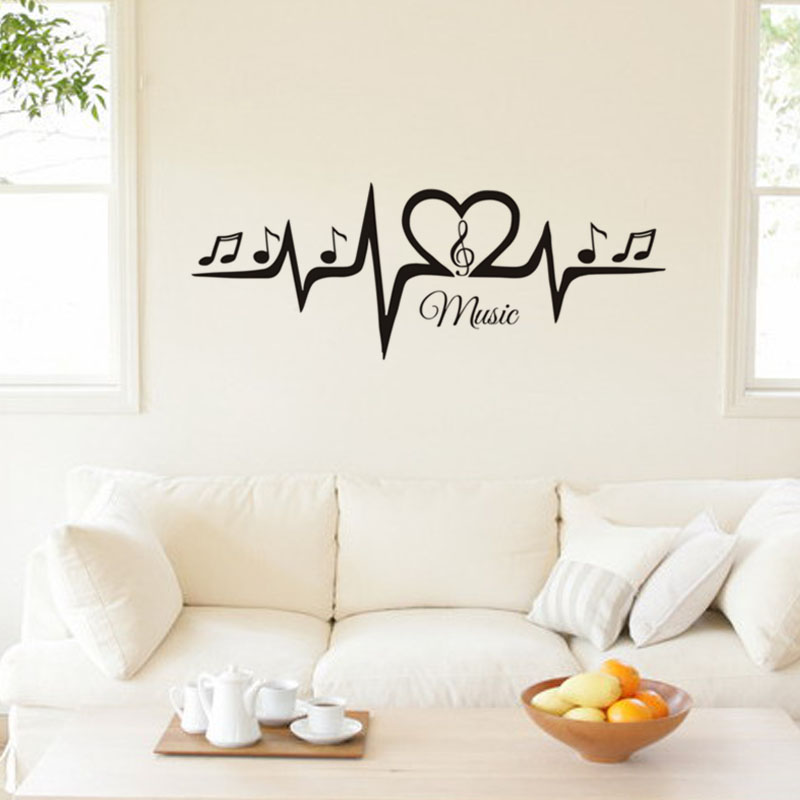 Heartbeat Line With Music Note Wall Sticker Home Sofa Background Vinyl Decal