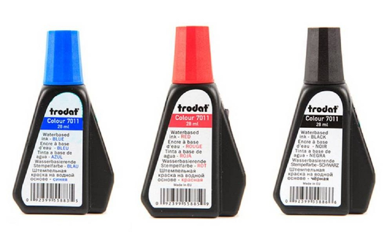 Trodat Stamp Pad Colour 7011 Permanent Ink 28ml Refill Stamps In Various Colors Blue