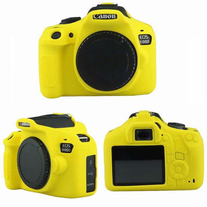 1500D Durable Soft Silicone Protective Case for Canon EOS 1300D Color : Yellow
