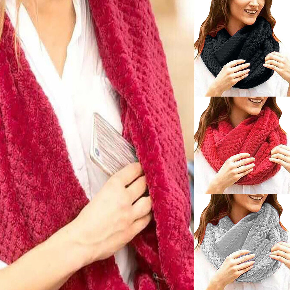Fashion Women Ladies Mens Winter Thermal Active Infinity Scarf With Zip Pocket