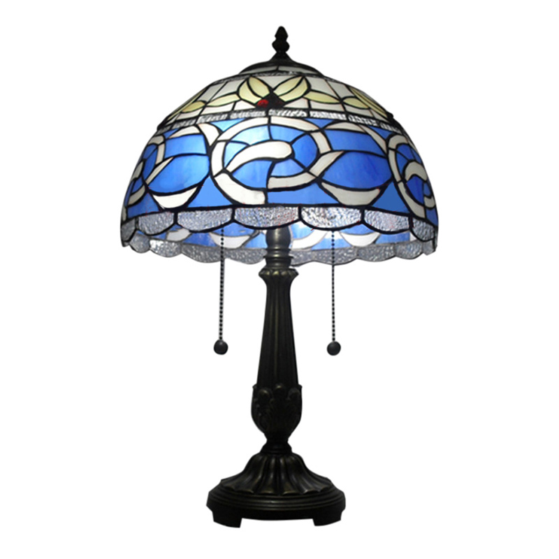 Details About Antique Tiffany Style Table Lamp Stained Gl Desk Art Deco 2 Lights Pull Chain