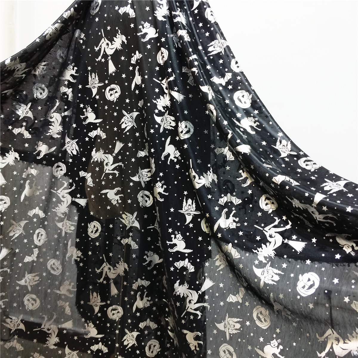 Halloween-Prints-Foil-Metallic-Soft-Tulle-Net-Fabric-Party-Costume-Hat-Craft