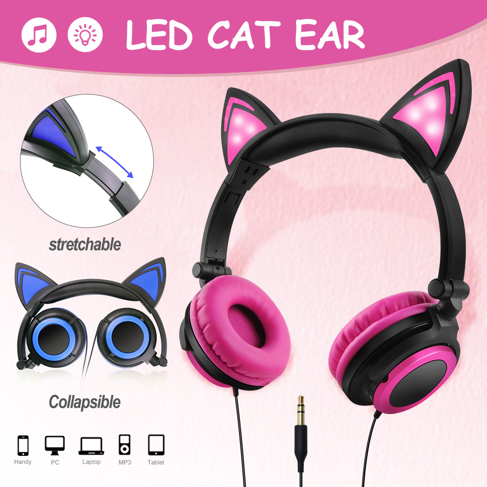 cat ear kabellos bluetooth opfh rer kopfh rer led headset. Black Bedroom Furniture Sets. Home Design Ideas