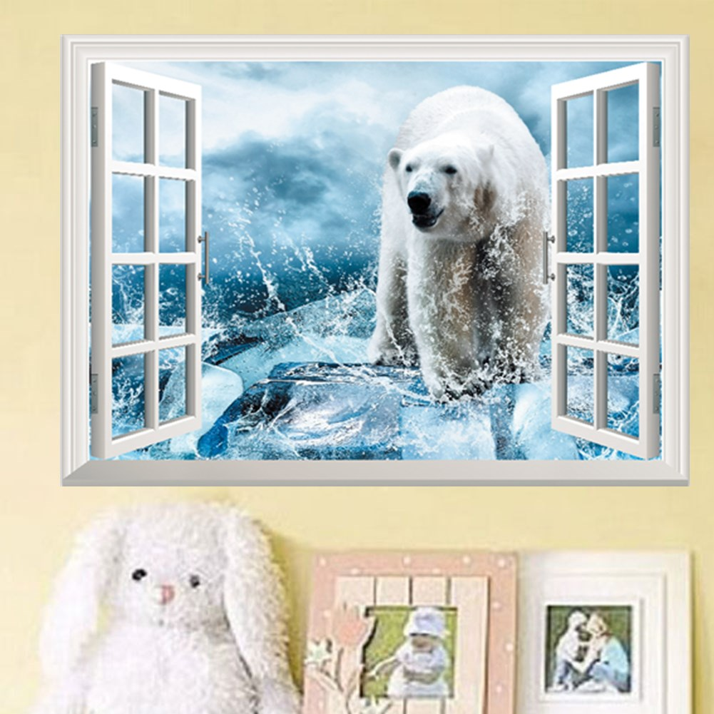 Polar Bear Fake Window Wall Sticker Kid S Bedroom Home Murals Nursery Decor