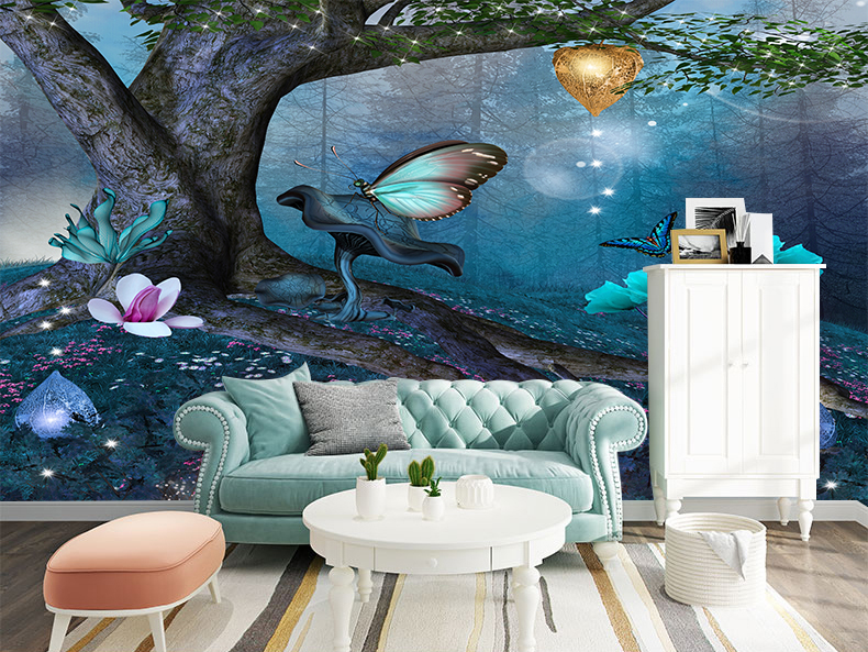 Details about 3D Fantasy Magic Forest Self-adhesive Kid\'s Bedroom Wallpaper  Wall Murals Decor