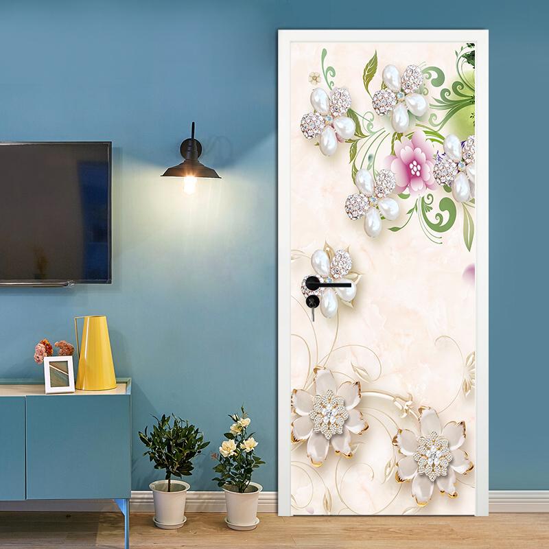 3D Waterfall Fish Flower Self Adhesive Living Room Door Murals Sticker Wallpaper