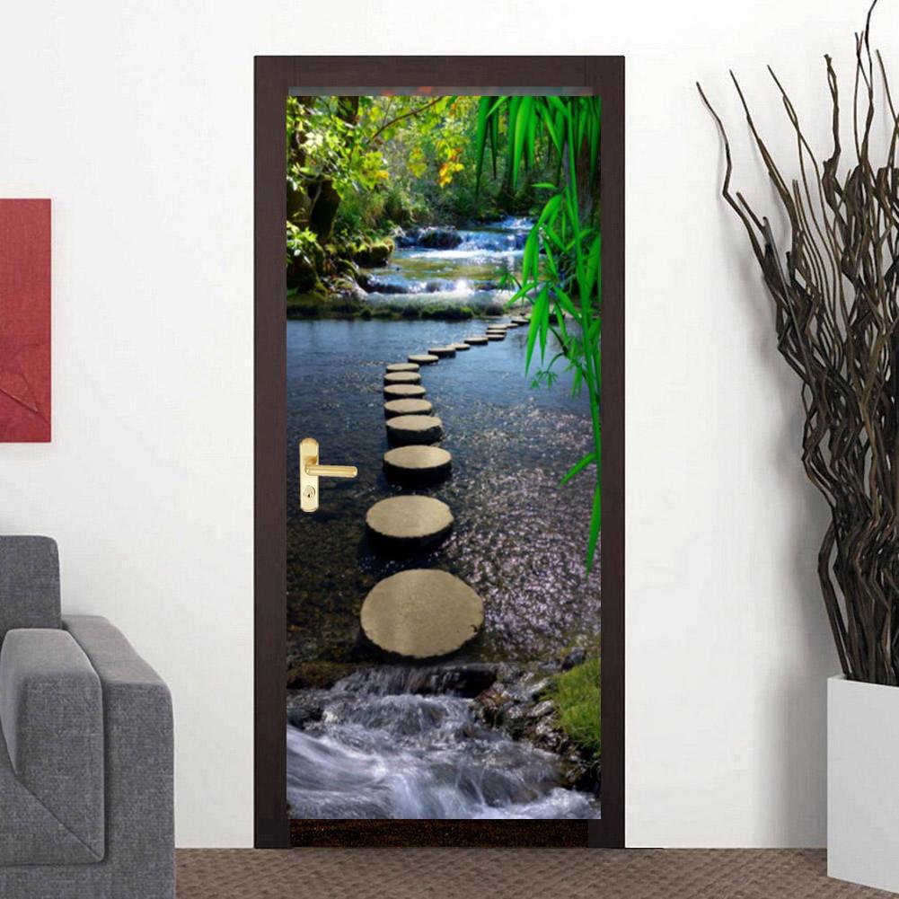 3D Mountain Stream Stone Pier Bridge Self-Adhesive Door Murals Room Wall Sticker